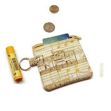 Metallic cream and gold music notes zippered pouch, coin purse, change bag, cards purse. Music gift idea. 10 dollar gift.