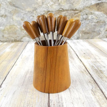 Mid Century Modern Appetizer Forks with Holder, Olive Wood, Oliv-Art of Spain