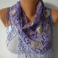 Lilac Sequin Scarf    Headband Necklace Cowl with Lace by fatwoman/91446562