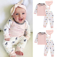New Baby Clothing Infant Newborn Baby Girl Xmas Clothes Top T-shirt Deer Pants Hat 3PCS Outfit Clothes Set