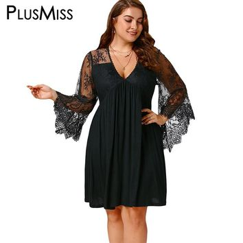 Plus Size 5XL Sexy Lace Crochet Sheer Mesh Dress Women Tunic Deep V Neck Flare Sleeve Tulle Elegant Party Dresses Big Size