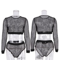 Belleziva Sexy Hollow Out Black Mesh Fishnet Bikini Cover Up Round Neck Long Sleeve Summer Beachwear Swimsuit Cover Up Top