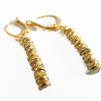 Gold earrings, handmade beaded dangle wedding earrings of vermeil elements.