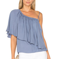 Ella Moss Stella One Shoulder Top in Chambray