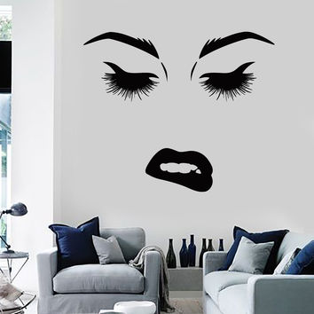 Vinyl Wall Decal Beauty Woman Face Eyes Lips Lashes Stickers Murals Unique Gift (ig4690)