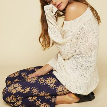 Creme Open Weave Sweater