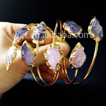 Exclusive! Gorgeous natural crystal rose stone arrowhead bracelet bangles, fashion hotsale double stone bangles