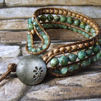 Western Boho Turquoise Beaded Leather Cuff Leather Wrap Bracelet Womens Bracelet Leather Jewelry 3 Rows Beaded African Turquoise Bracelet