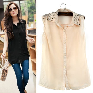 Summer Women Stand Lapel Collar Rivet Tops Sleeveless Chiffon Vest Blouse Shirt F_F