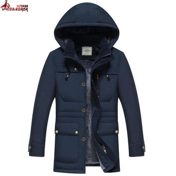 UNCO&BOROR MID-Long warm Winter Men brand Clothing Outwear Casual Jacket And coats fleece Cotton Parka Male coat size M~4XL