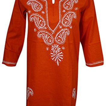 Mogul Womens Indian Tunic Cotton Paisley Embroidered Bohemian Ethnic Shirt Top Blouse (Rust Orange)