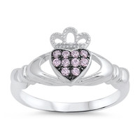 .925 Pink Cubic Zirconia Claddagh Ring