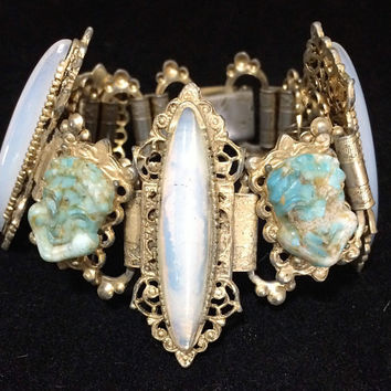 Molded Turquoise Glass Face Faux Opal Rhinestone Bracelet Book Chain Link Vintage Mid Century Jewelry 518