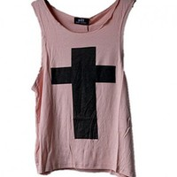 Pink Tank with Oversized Cross Print