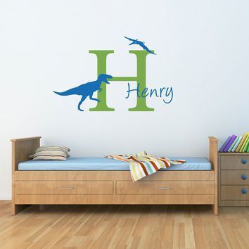 Initial & Name Wall Decal with Dinosaurs - T-Rex and Pterodactyl - Dinosaur Boy Bedroom - Large