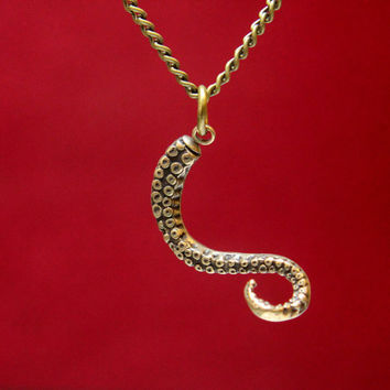 Octopus Tentacle Necklace in Solid bronze by mrd74 on Etsy