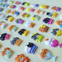Cupcake cat cup cat sticker Puffy pussy cat party cats diary sticker Flower cats colorful  dessert kitten cat seal label baby cat animal