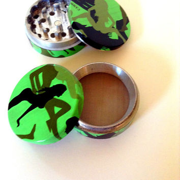Green herb grinder, camo, booty, lady, sexy women, medical marijuana, weed, smoke