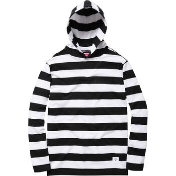 Supreme: Hooded L/S Striped Tee - White
