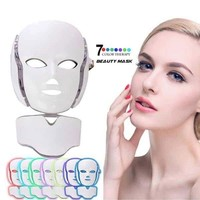 7 Color Photon LED Facial Neck Mask For Skin Rejuvenation, Skincare Acne, Pore, Anti-Aging Beauty Light Therapy Light For Home Use