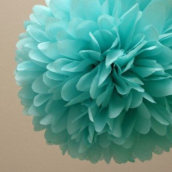 Aqua Tissue Paper Pom .. Wedding Decor / Bridal Shower / Baby Shower / Tiffany Blue / Party Decoration