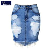 Mini Denim Skirt Women 2017 new Summer Casual Split High Waist Short Jeans Skirt Irregular Sexy Pencil Skirts Womens Jupe Faldas