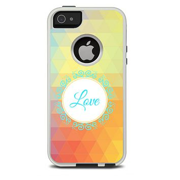The HighLighted Colorful Triangular Love Skin For The iPhone 5-5s Otterbox Commuter Case
