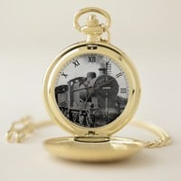 Gold Plated Train Pocket Watch
