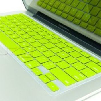 "Kuzy - Neon YELLOW Keyboard Cover Silicone Skin for MacBook Pro 13"" 15"" 17"" (with or w/out Retina Display) iMac and MacBook Air 13"" - Construction Hot Yellow"