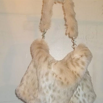 Very Cute! Faux  Fur Hug Bag (Snow Leopard - Beige) Faux Fur Bag, Fox Fur Bag, Faux Fur Huge Clutch, Faux Fur Hobo - Valentine's Day Gift
