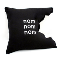 Pillow - Nom Nom Black  Cotton blend ready to ship