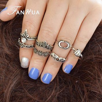 FANHUA 7 pcs/set New Bohemian Style Antique Gold Silver Color Geometric Elephant Hat Sun Flower Pattern Rings Set Accessories