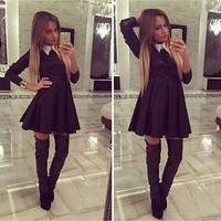 Hot Sale New 2015 Fashion Women Winter Dress Pure Color Peter Pan Collar Casual Dress Long Sleeve Autumn Casual Sexy Vestidos