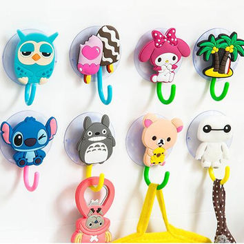 Cartoon powerful suction cup hook The bathroom kitchen multipurpose non-trace hanging towel hook hanging hook