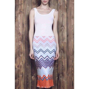 Square Neck Chevron Printed Bodycon Maxi Dress