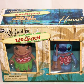 "Licensed cool 3"" DISNEY STORE HAWAII EXC. VINYLMATION LILO & STITCH UKULELE 2014 NEW IN BOX"