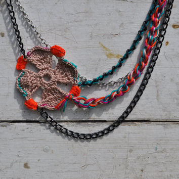 Layered Chain Necklace Crocheted Flower