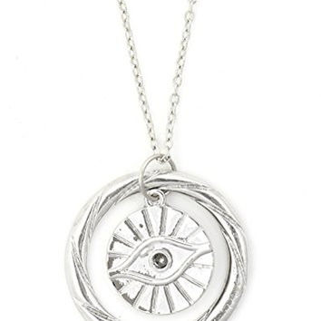 Evil Eye Necklace Amulet Silver Tone NR55 Eyeball Statement Pendant Fashion Jewelry
