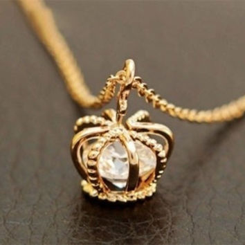 Extra Crown Zircon Clavicle Chain Necklace (With Thanksgiving&Christmas Gift Box)= 1651240196