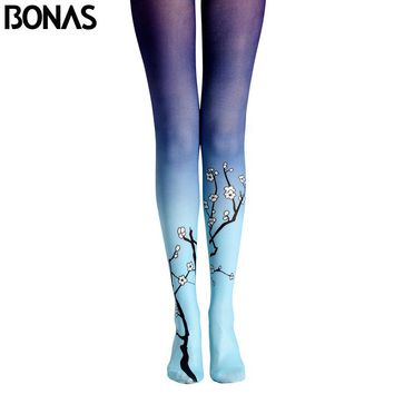 BONAS Plum Flower Pantyhose Tights New Arrival Print Stockings Leggins Women Winter Cotton Compression Pantyhose Gradient Tights