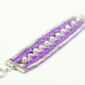 Purple Crochet Lace Bracelet - Pearls - Rhinestones - Boho Style - Fiber Art Jewelry – Lightweight - Wide Bracelet