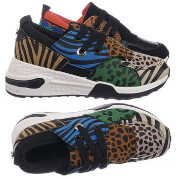Flamingo01K Kids Unisex Animal Print Trainer - Children Color Chunky Sneaker