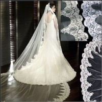 Loveshop Top-level 3 Meter Long Single-layer Embroidery Lace Edge Bridal Wedding Veil (Ivory)