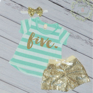 Fifth Birthday Outfit Girl Gold Glitter Five Year Old Girl Fifth Birthday T-Shirt Shorts Headband Set 102