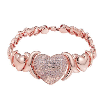 "XOXO Link Heart Pendant Womens Rose Gold Tone Pink Lab Diamond 7.5"" 24mm"