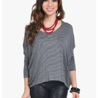 Gray Paper Moon Striped Top | $10.00 | Cheap Trendy Blouses Chic Discount Fashion for Women | ModDe