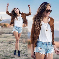 Stylish Tassels Stripes Jacket [6358733764]
