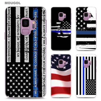 MOUGOL Thin Blue Line American US Flag design transparent hard Phone Case Cover for Samsung Galaxy S9 S9Plus A8 2018