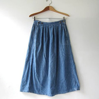 80s Jean Skirt. Midi Jean Skirt. Distressed denim skirt. Pocket skirt. Boho jean skirt.