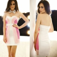 Korean New Sexy Detachable Spaghetti Strap Color Blocking Women Party Mini Dress